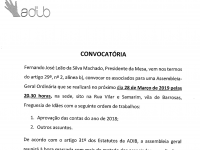 Convocatória Assembleia – Geral a realizar no dia 28/03/2019 às 20h:30m