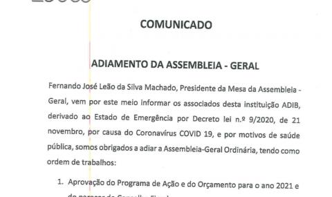 ADIB – Adiamento da Assembleia – Geral