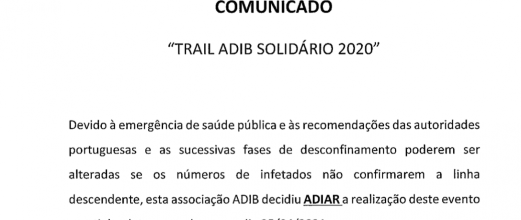 ADIB – Comunicado (Trail ADIB Solidário 2020)