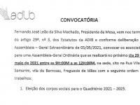 ADIB – Covocatória e comunicado para eleição dos corpos sociais quadriénio 2021 – 2025